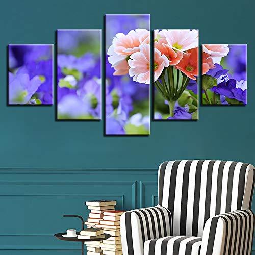 Moderne Home Wall Art Decor Frame 5 stuks paarse en roze bloem HD afdrukken schilderij op doek voor woonkamer
