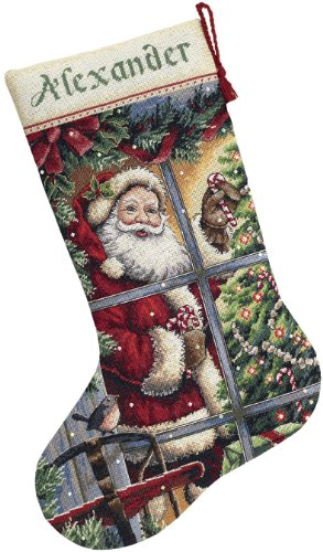 DIMENSIONS Counted - Kit de Punto de Cruz para calcetín navideño, diseño de Papá Noel