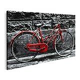 islandburner Cuadro en Lienzo Bicicleta roja Retro en una Pared en Blanco y Negro Cuadros Modernos Decoracion Impresión Salon