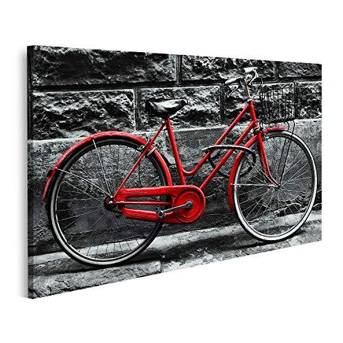 islandburner Cuadro en Lienzo Bicicleta roja Retro en una Pared en Blanco y Negro Cuadros Modernos Decoracion Impresión...