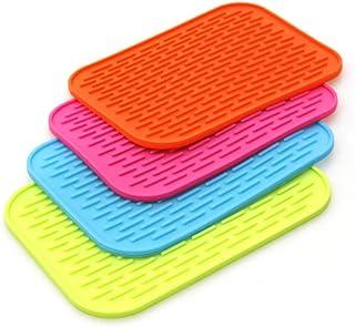 4PCS Premium Silicone Dish Drying Mat, Thicken Heat Resistant Mat Dish Draining Mat for Kitchen Sink Organizer Countertop ...