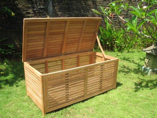 Echt Teak Gartenbox groß offene Lattung - 2