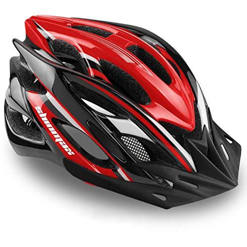 Shinmax Bike Helmet,Bicycle Helmet with Size Adjustable Function Ultralight Mountain Bike Helmet Include Detachable Visor/Rear Light/Portable Backpack Specialized Cycling Helmet for Men Women SM-UHD