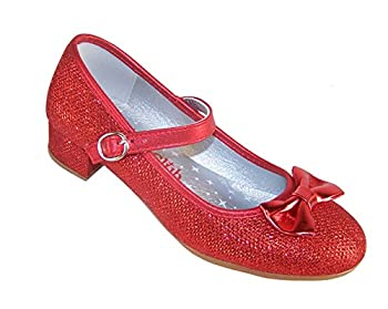 Sparkle Club Girls  Red Sparkly Dress Occasion Party Heeled Dorothy Shoes Synthetic Mary-Jane,4 Big Kid
