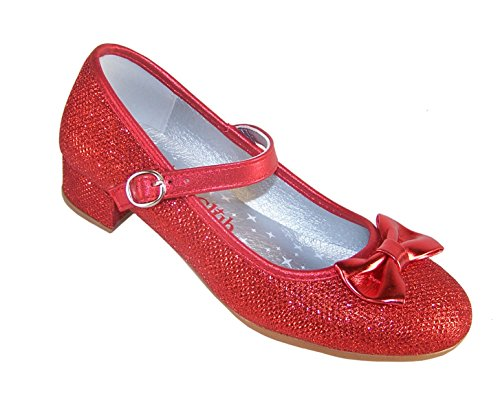 Sparkle Club Girls' Red Sparkly Dress Occasion Party Heeled Dorothy Shoes Synthetic Mary-Jane,3 Big Kid