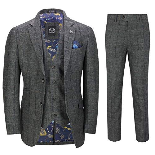 3 Pièces pour Hommes Costume Gris Tweed Chevrons Chèque Vintage Aménagée [SUIT-X3309-3-GREY-46EU]