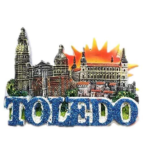 Weekinglo Souvenir Imán de Nevera La Catedral Toledo España Resina 3D Artesanía Hecha A Mano Turista Viaje Ciudad Recuerdo Colección Carta Refrigerador Etiqueta
