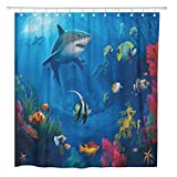 AdaCrazy Cortina de Ducha Sea Life Swimming Shark Fish Decoración de baño para el hogar Tela de poliéster Impermeable 72 x 72 Pulgadas Set con Ganchos