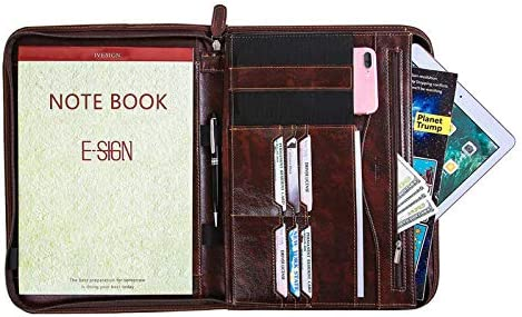 IVESIGN Portfolio Folder PU Leather Briefcase Professional Interview Padfolio with Zippered product image