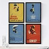 Nacnic Poster Jahrgang. Alte Plakate mit Anzeigen. Vier