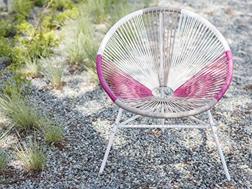Beliani Gartenstuhl mexikanischer Stuhl weiß beige rosa Rattanstuhl Acapulco