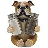 Bulldog Salt & Pepper Shaker Set Statuette with Decorative Spice Rack Display Stand Holder Puppy Dog...