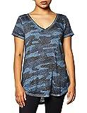 Lucky Brand Women's Camo Burnout Tee Shirt, Blue/Multi, XS