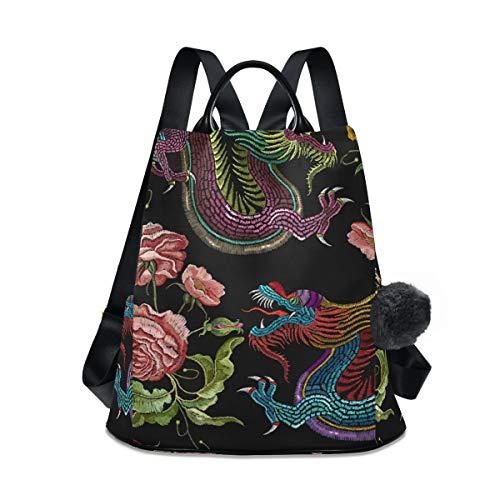 Rucksack für Damen, bunte Stickerei, Drache, leicht, wasserdicht, Oxford, klein,...