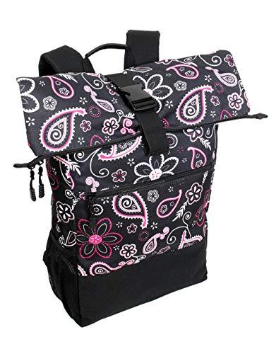 Großer Rolltop Rucksack komfortabler Daypack Kurierrucksack mit Laptop-Fach für Uni Sport