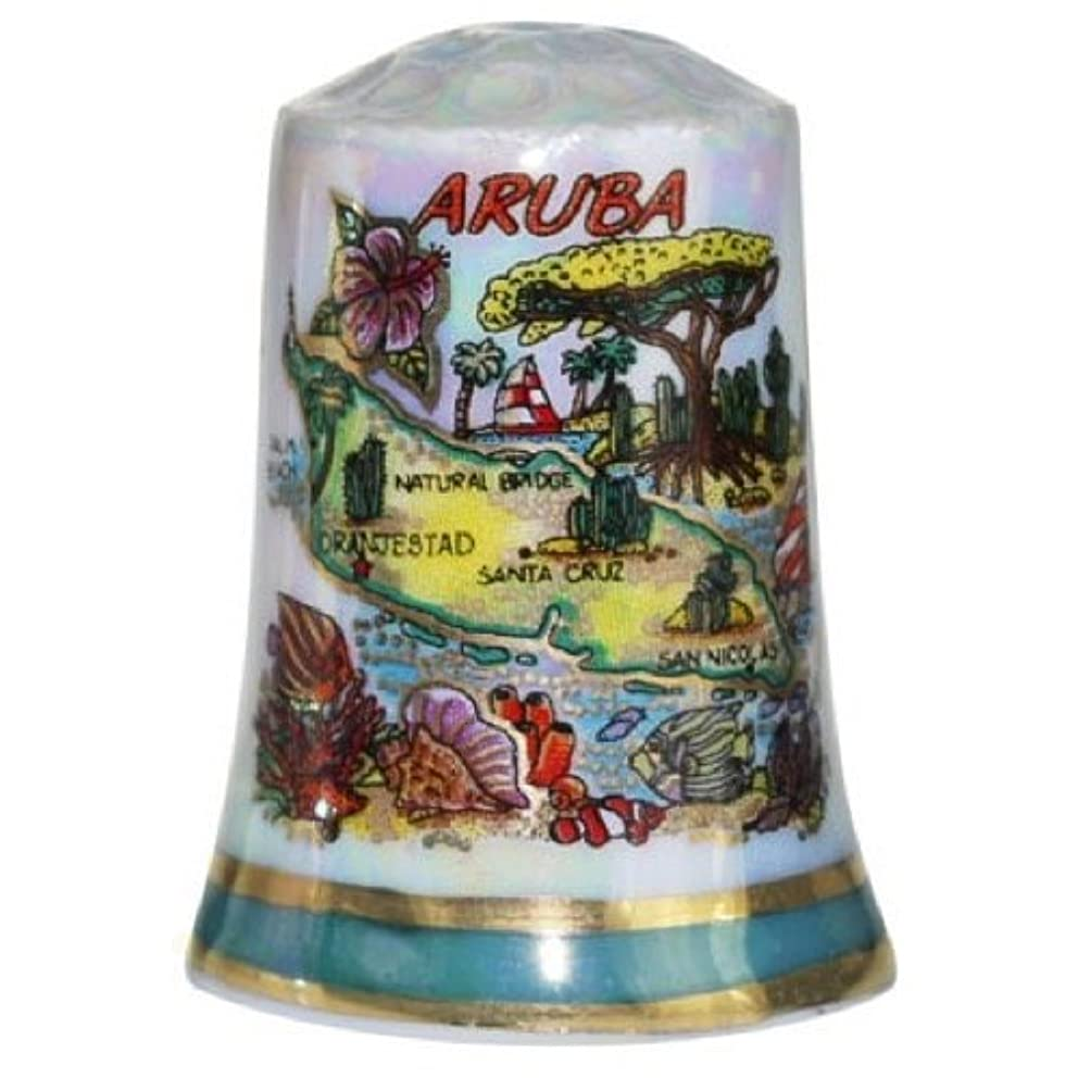 Aruba Caribbean Map Pearl Souvenir Collectible Thimble agc