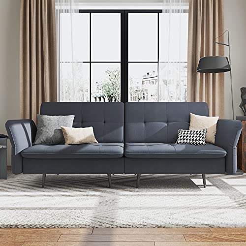 HONBAY Convertible Folding Futon Sofa Bed for Small Space, Sleeper Sofa Couch Bed with Adjustable Armrest and Tufted Cushions, Bluish Grey