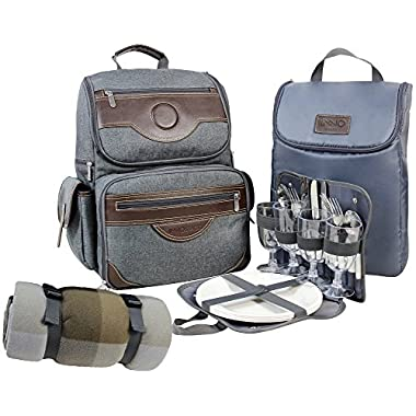 INNO STAGE Insulated Picnic Backpack for 4, Hiking & Camping Back Pack Set with Separated Cooler Tote Win Picnic Bag,Movable Dinner Set Carrier,Plates,Cutlery and Waterproof Picnic Blanket