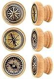 Lashuma Holz Möbelknöpfe 6 teilig, Runde Kommodengriffe Motive: Kompass, Vintage Schubladengriffe Ø 4 cm