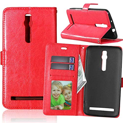 Wenlon Handy PU Hülle für Asus ZenFone 2 ZE550ML Deluxe ZE551ML 5.5inch, Hochwertige Business Kunstleder Flip Wallet Handyhülle mit Card Slot Funktion, Bracket Funktion - Rot