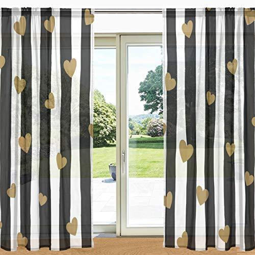 MyDaily Fenstervorhang, 2 Paneele, 139,7 x 19,8 cm, mit transparentem Gardinenband, Schwarz / Weiß gestreift, Polyester, multi, 55