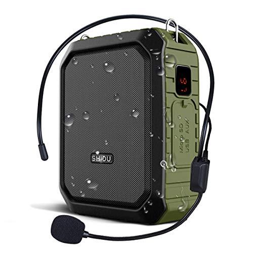 W WINBRIDGE® Amplificador de voz para exteriores Portátil con auriculares con Micrófono 18W 4400mAh Bluetooth Grabación de a prueba de agua para profesores, guías turísticos M800 (Con cable)