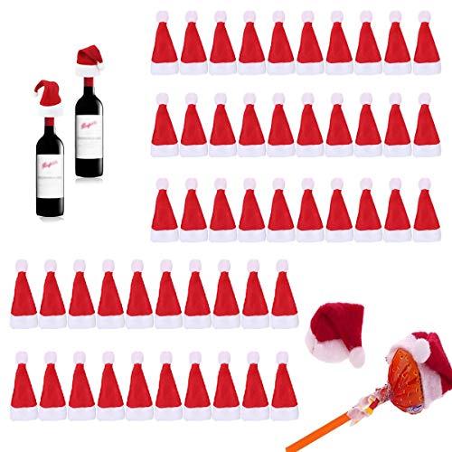 Xumier 50pcs Cappellino Porta Posate Mini Cappello di Natale Decorazione di stoviglie Cappello Lecca-Lecca Decorazione per Albero di Natale Decorazione Bottiglia di Vino Piccolo Cappello di Natale