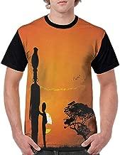 Men T Shirts Fashion,African,Child and Mother at Sunset Walking in Savannah Desert Dawn Kenya Nature Image,Orange Black S-XXL Print Short Sleeve