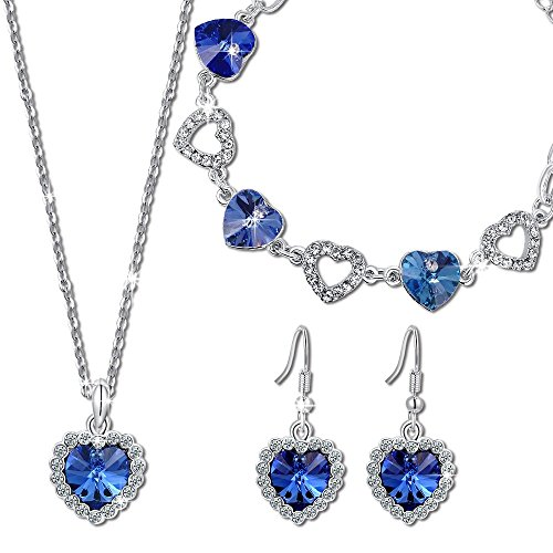 QIANSE Heart of Ocean Sapphire Jewelry Set Christmas Jewelry Gifts for Women Swarovski Crystals Titanic Jewelry Women Heart Necklace Tennis Bracelet Earrings Set Anniversary Birthday Gifts for Her
