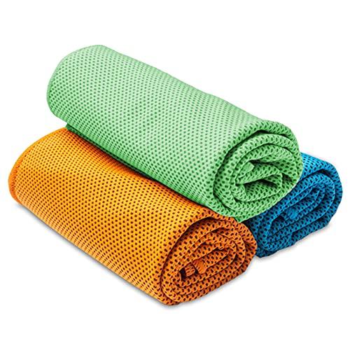Abaddon 冷却タオル 3枚セット スポーツタオル 瞬冷タイプ 冷感タオル UVカット 日焼け対策 熱中症対策 3色