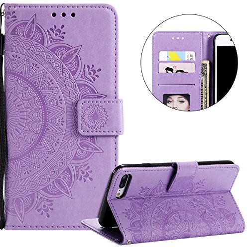 Compatible avec Coque iPhone 7 Plus/8 Plus Housse en Cuir PU Leather Etui Portefeuille à Rabat Mandala Fleur Motif Clapet Support Fermeture Flip Wallet Case pour iPhone 7 Plus/8 Plus,Fleur Violet