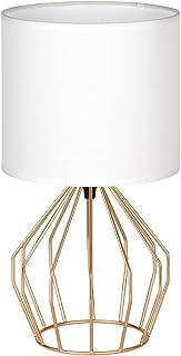 Mini lampe de chevet avec abat-jour en tissu et base en métal - Lampe de table moderne pour salon chambre à coucher - Dor...