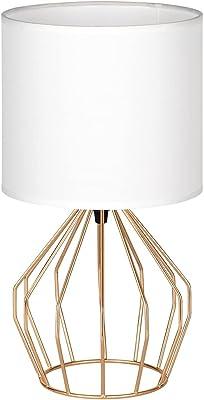 Mini lampe de chevet avec abat-jour en tissu et base en métal - Lampe de table moderne pour salon chambre à coucher - Doré/blanc