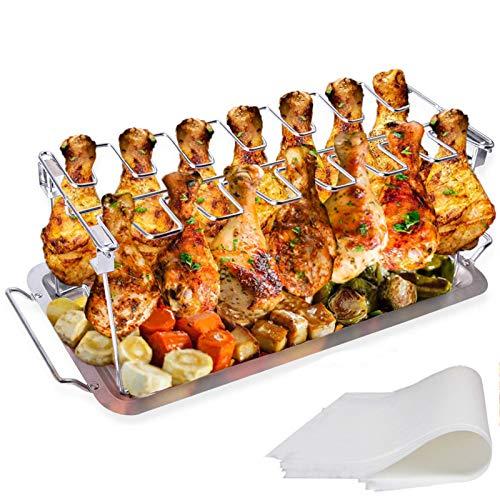 LyximGss Hähnchenschenkel Halter mit Platz für 14 Keulen -Hähnchenkeulenhalter aus Edelstahl mit Auffangschale, Gleichmäßig Gegarte Hähnchenkeulen aus dem Backofen oder vom Grill