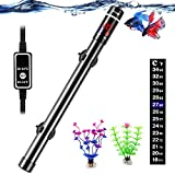 ZEETOON 500W Aquarium Heater with 2 Artificial Plants 1 Stick-on Thermometer, Safe Titanium Submersible Fish Tank Heater for Salt Water or Fresh Water 40-120 Gallon, LED Digital Thermostat Controller
