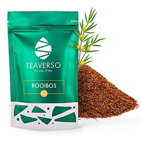 TEAVERSO Rooibos Tee, Rotbuschtee Aus Südafrika, Roibusch, Rooibos loser Tee, einzigartiges Aroma, lose Rotbusch im Aromabeutel mit Zippverschluss, Aromatisch, Mild & Lieblich, 100g…