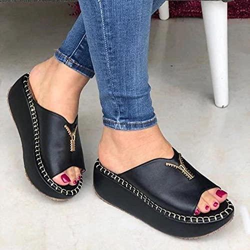 DZQQ Chaussures de Confort pour Femmes Bout Ouvert Sandales à Talons Beiges Talons d été pour Femmes Sabots compensées Grande Taille Bloc de Confort Peep