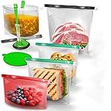 DILISS Reusable Silicone Food Bag   (Set of 7) 5 Bags + Reusable