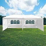 Skylantern - Cenador plegable de jardín (3 x 6 m, impermeable, con paredes de 160 g/m2), color blanco