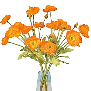 5 Pcs Artificial Corn Poppy Flowers, Silk Fake Poppy Bouquet for Wedding Holiday Bridal Home Party Decor Bridesmaid Bouquets