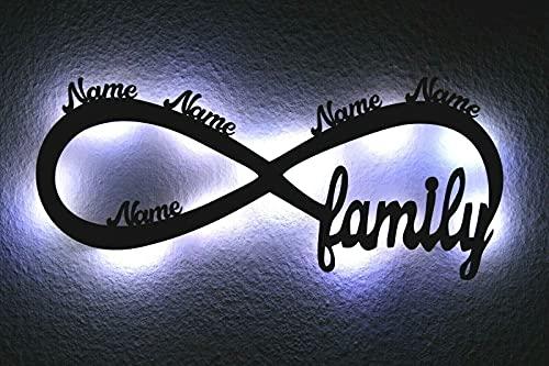 LED Deko Schlummerlicht Nachtlicht Familie Unendlichkeit mit bis zu 5 Namen, Unendlichkeitszeichen liegende Acht personalisiert mit Wunsch Namen Lasergravur Abendlicht Wohnzimmer