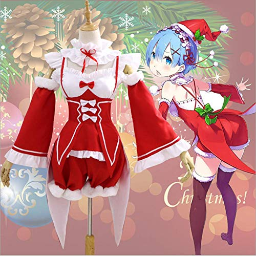 HJQ Re:Life in A Different World from Zero Manga Zero Ramrem/Ram Maid Dress Outfit Cosplay Costume Women Lolita Christmas Red Dress,Red,M