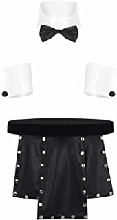 FEESHOW Mens Waiter Lingerie Set Role Play Costume Collar Cuffs with Metal Studded Kilt Leather Split Skirt
