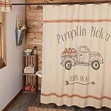 Harvest Market Duschvorhang, 182,9 x 182,9 cm, schablonierter Herbstwagen mit Kürbisen, Herbstlandhaus-Dekoration