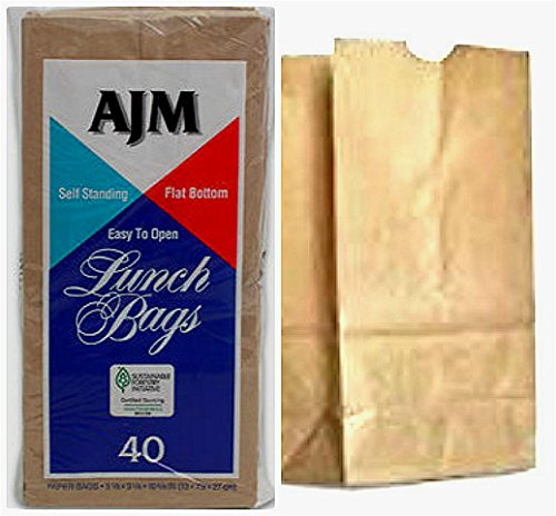 6 Packs (240 Counts) AJM Brown Paper Lunch Bag Recyclable Biodegradable