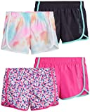 Body Glove Girls 4-Pack Athletic Gym Workout Yoga Dolphin Running Shorts (Geo/Pink/Tie-Dye/Charcoal, 7 / Small)
