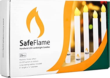 SafeFlame Flameless Hand Held LED Flickering Amber Battery Candles - Church Service, Candlelight Vigil - AAA Batteries Includ