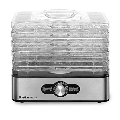 Elite Gourmet EFD3321 Compact, 5 Stainless Steel Trays Food Dehydrator, Adjustable Temperature Controls, Jerky Herbs Fruit Veggies Snacks (Renewed)