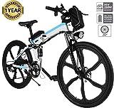 Oppikle Vélo Electrique 26' E-Bike - VTT Pliant 36V 250W Batterie au Lithium de Grande Capacité - Ville léger Vélo de avec moyeu 21 Vitesses (Upgrade Blanc)