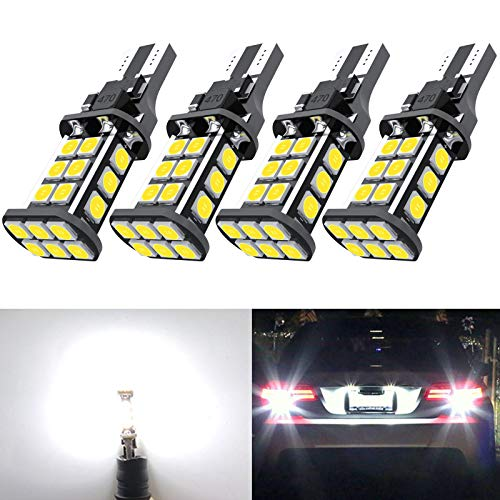 921 LED Car Bulb Upgrade Extremely Bright T15 912 W16W LED 921 Bulbs 3030 Chipsets 24-SMD CANBUS LED Lamps Used for Backup Reverse Lights, 6000K Xenon White(4pcs/Pack)